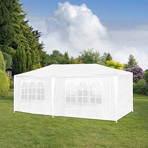 HG 3x6m Festzelt Pavillion Polyethylen Stahlkonstruktion Garten Strand Partyzelt Wasserdicht inkl. 6...
