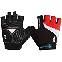 LianLe-Guantes dedo mitad respirable Antideslizante Antichoque para Montaña bike Bicicleta Ciclismo bici,color rojo/azul/negro, M/L/XL