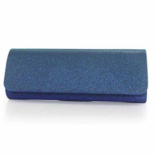 Signore Borse Colorate Signore Raso Borsa Da Sera Cellulare Cosmetici Bag Blue