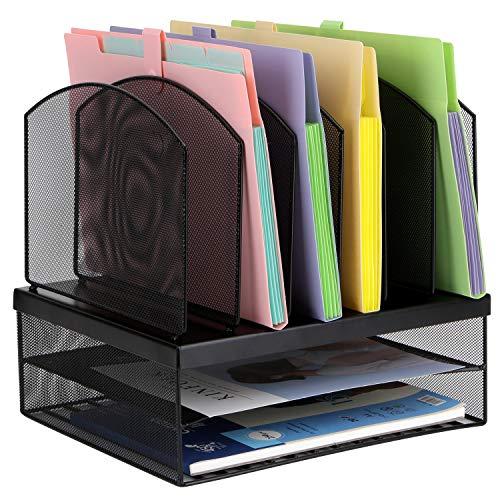 toroton Mesh Briefablage Halter, Desktop-Datei & Briefsortierer Organizer mit 3Briefablagen und vertikal 2aufrecht Abschnitten File Sorter Holder 1 schwarz - 2 Schubladen Zeitgenössischer Schrank