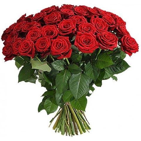 SUPER OFERTA ramo de 40 rosas rojas naturales frescas + tarjeta con nota personalizada + opción envio