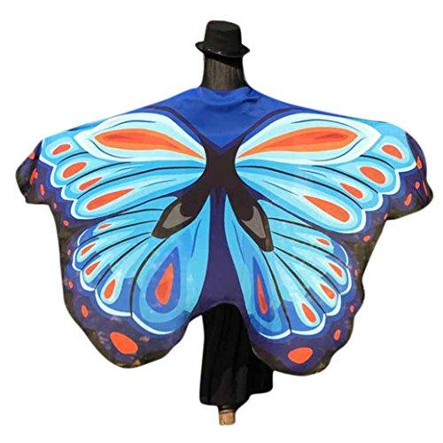 kostüm, KOBAY Frauen Weiches Gewebe Schmetterlingsflügel Schal Fee Damen Nymph Pixie Kostüm Zubehör für Show / Daily / Party (197*125CM, Himmelblau-3) (Frau Fee Kostüme)