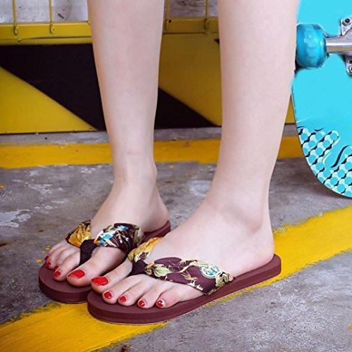 Transer ® Fashion femmes Mesdames sandales tongs plage décontractée Slipper Marron