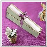 Hochzeitseinladung, gerollt, mit Boxen, Blumen-Design, elfenbeinfarben, 5 Stück
