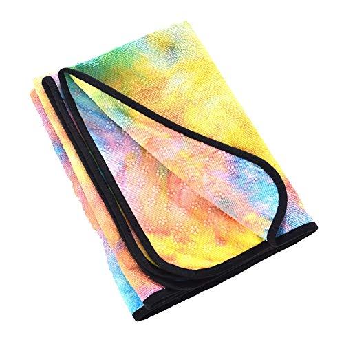 ENticerowts - Toallas de Yoga Antideslizantes, de Microfibra, Plegables, para Viajes, Playa, absorbentes, de Secado rápido, para Pilates, Deportes, Entrenamiento Amarillo