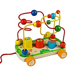 Bead Maze Wooden Toy Colorful Shape Sorter Pull Push Cars with String Rope Birthday Gift for Kids Children Boys Girls