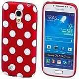 ECENCE Samsung Galaxy S4 mini i9190 Silikon TPU case schutz hülle handy tasche cover schale retro rot weiss gepunktet 12040404