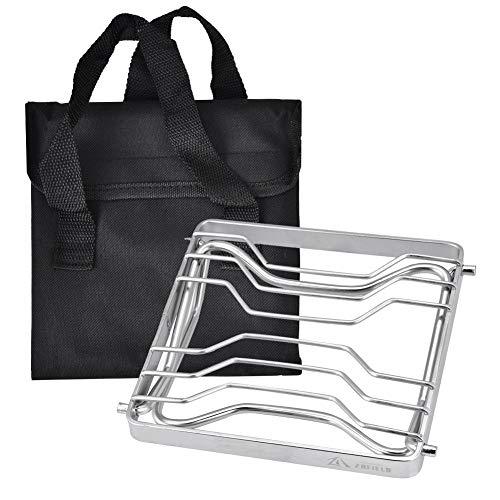 Delaman Grillgestelle Non-Stick Klappbarer Grillständer, Edelstahl, für Camping Travelling Picknick, mit Tasche