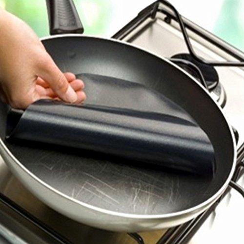 edealing (TM) 5pcs Runde Antihaft-Mat Pan Fry Liner Blatt Kochen Wok Blatt Pad Küche BBQ Backen-Matte Kochen, Backen Blatt