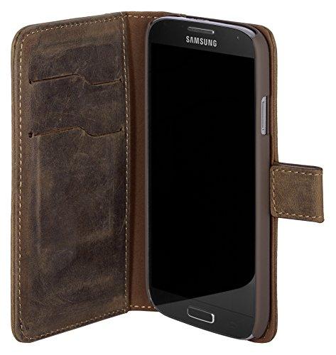 Samsung Galaxy S4 Lederhülle / Ledertasche / Hülle / Tasche Booklet mit Magnetverschluss aus echtem Leder Vintage Braun mit Kartenfächer und Aufstellfunktion Handy Cover Für Samsung S4