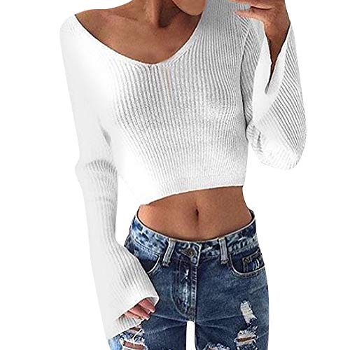 Ulanda-EU Womens Sweaters V Neck Cold Shoulder Casual Knitwear Clubwear Beach Sweater and Jumpers Pullover Crop Tops Women Girls
