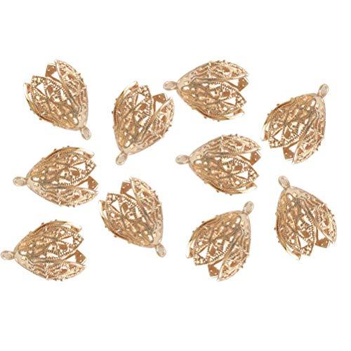 Healifty 10 stücke Filigrane Hohlkegel Blumenkappe für Perlen Quaste DIY Schmucksachen -