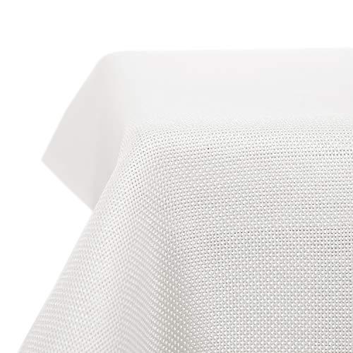 Deconovo tovaglia impermeabile antimacchia rettangolare in tessuto finto lino per compleanno 150x150cm bianco