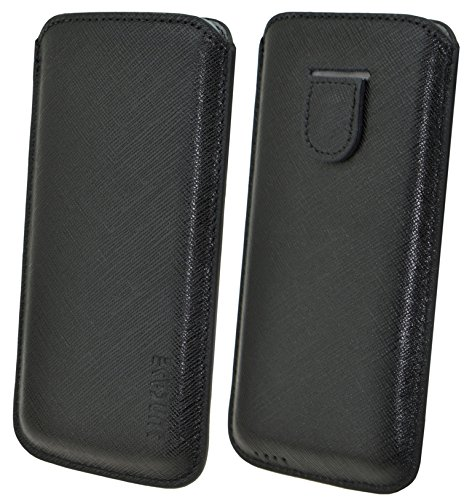 Suncase Lederhülle mit Rückzugsfunktion für das Apple iPhone 5 / 5S in vollnarbig-schwarz schwarz / vollnarbig