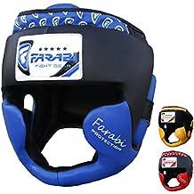 Farabi Boxing, MMA, Muay Thai , Kickboxing martial arts training fighting karate bjj thai taekwondo championship padded gym head guard helmet for head protection. (Blue, small/medium)