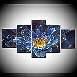 INFANDW Leinwanddruck 5 Panel Leinwand Art Blauer Lotus für Home Wohnzimmer Büro Trendig Eingerichtet Dekoration Geschenk (Rahmenlos) 200 x 100 cm