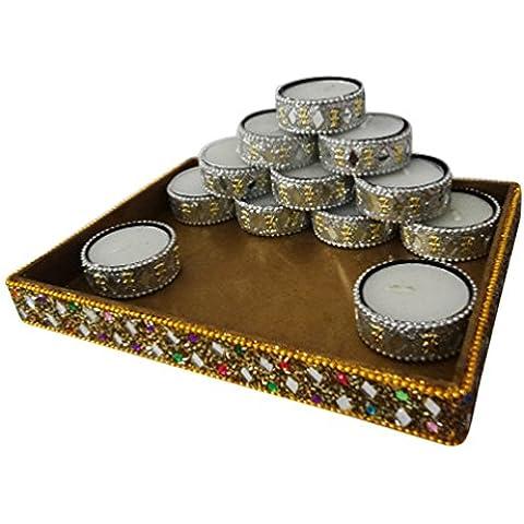 candela decorativa titolare tè luce artigianale supporto in alluminio materiale lac indiano insieme dell