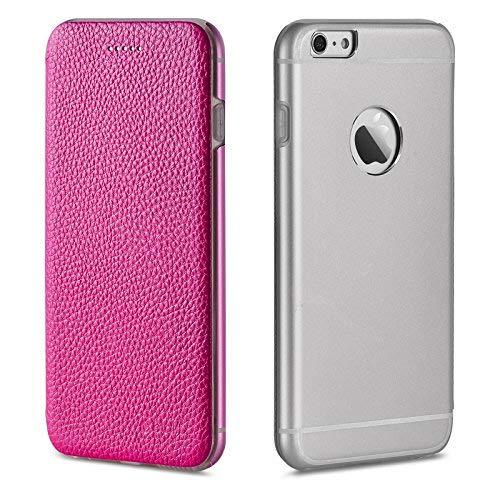 OKCS Binli echt Leder Schutzhülle kompatibel mit iPhone 6 mit stylischer Aluminium Rückseite Hard Cover Flip Case - Hot Pink Hot Pink Hard Case