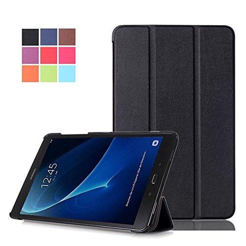 DETUOSI Galaxy Tab A6 Hülle 10.1 Case, Ultra Slim PU Leder Tasche und Flip Etui für Samsung Galaxy Tab A (2016) SM-T580N/T585N 25,54cm (10,1 Zoll) Schutzhülle Smart Cover mit Holder Stand (Schwarz) A6-tablett