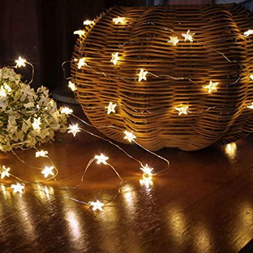 Gaddrt Natale decorativo Star Light, Cozy, luci per camera da letto party con 30/50LED perline, Yellow, 10 LED Beads(2m)
