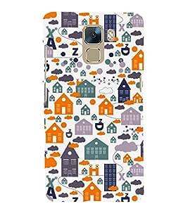 Fiobs Designer Back Case Cover for Huawei Honor 7 :: Huawei Honor 7 (Enhanced Edition) :: Huawei Honor 7 Dual SIM (Graffiti House Building Alphabets Animals Trees)