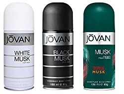 Jovan Combo Offer Deodorant Spray Black Musk+White Musk+ Tropical Musk 150 Ml Each For men