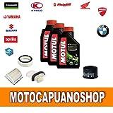 """Kit de revisión y cambio de aceite para motocicletas Yamaha T-MAX 500 formado por: aceite """"Mototul 5100"""" + filtros 2004, 2005, 2006 y 2007"""