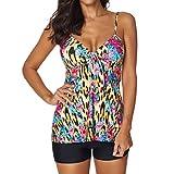 VECDY Bikini Damen Set Frauen Sexy Tankini Sets mit Shorts Damen Bikini Set Bademode Push-Up Elegant Kleiden Camisole Mode Weste Pullover Bluse