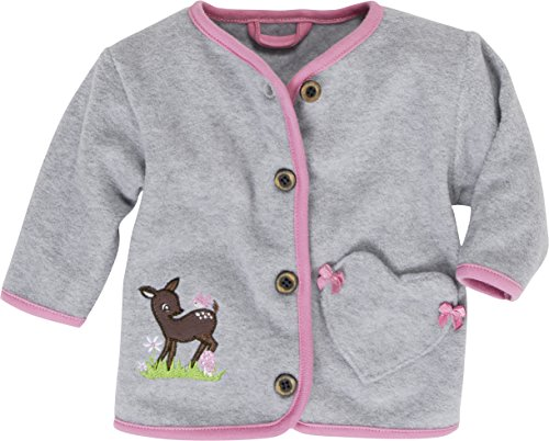 Schnizler Baby-Mädchen Jacke Fleecejacke Reh, Oeko-Tex Standard 100, Grau (Grau/Melange 37), 86 (Baby-mädchen-fleece)