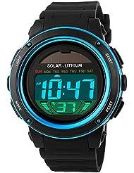 Mudder Reloj Deportivo Solar Reloj Digital Impermeable con Pantalla LED para Hombres y Mujeres