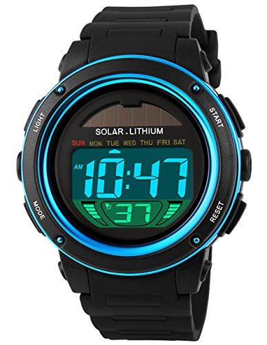 Mudder digitale Solaruhr, wasserdicht, Quarz-Uhrwerk, LED-Sportuhr für Herren & Damen, Outdoor-Armbanduhr (Damen Outdoor-wasserdichte Armbanduhr)