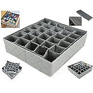 Leisial™ 30 Rejilla Caja de Almacenaje para Armarios Ropa Interior Calcetines Corbata Cajón Organizador Cesta Bras Gris
