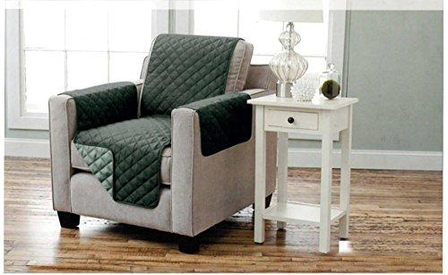 Sesselschoner zweiseitiger Sesselüberwurf Sesselauflage Polsterschutz Sesselbzug - gesteppt mit Armlehnen und drei Taschen - Größe: 1-Sitzer ca. 191 x 165 cm - Farbe: Anthrazit/Hellgrau