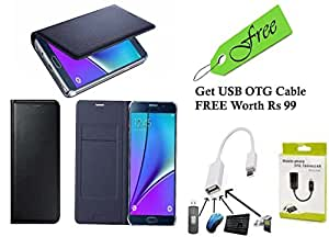 Novo Style Vivo Y15 Synthetic leather Magnet Design Flip Case Cover - Black With FREE Premium Quality Micro USB OTG - White