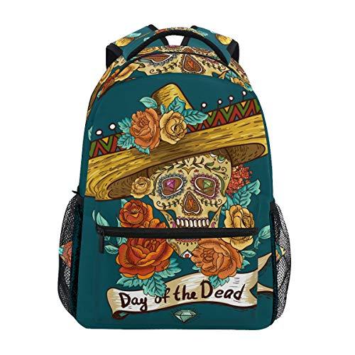 �del Day of The Dead Muster Rucksack Büchertasche Schulrucksäcke Rucksack Wandern Daypack für Mädchen Kinder Jungen Damen Herren Unisex ()
