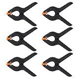KEESIN 6 Stück 4Inch Schwarz Kunststoff Nylon Kulisse Klemmen Heavy Duty Feder Klemmen für Muslin Papier Foto Studio Hintergrund (6P-4inch)
