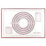 Youda Tapetes para Hornear, Salvamantel de Silicona para Amasar Tartas o Pasteles(60x40cm), Estera de Repostería Grande Antiadherente Reutilizable(Rojo)