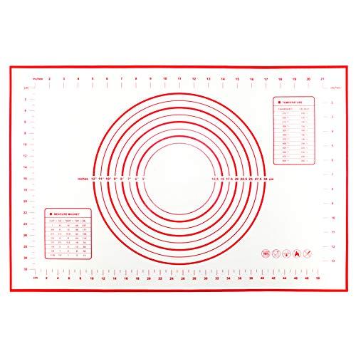 Tapis /à p/âtisserie avec mesures Vzer Rouge antid/érapant Tapis de cuisson en silicone antiadh/ésif de grande taille 60/x 40/cm