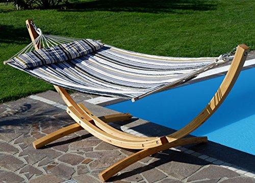 Sas 320cm supporto par amaca limited edition in legno larice con amaca, cuscino e tutte vite inox de as-s, farbe:hm3-lim-natur-nagua