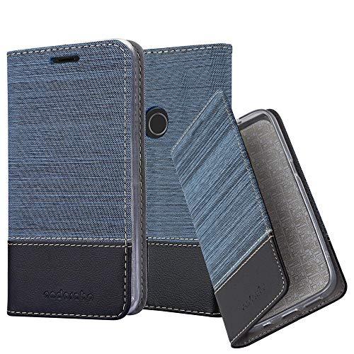 Cadorabo Hülle für BQ Aquaris X5 Plus in DUNKEL BLAU SCHWARZ – Handyhülle mit Magnetverschluss, Standfunktion & Kartenfach – Case Cover Schutzhülle Etui Tasche Book Klapp Style