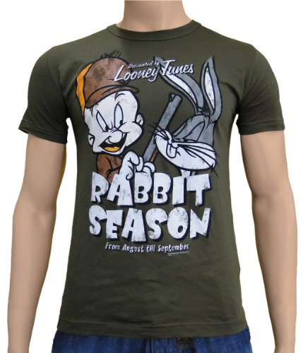 logoshrt-bugs-bunny-elmer-fudd-retro-comic-herren-t-shirt-rabbit-season-khaki-gr-s-l116