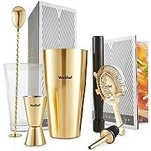 VonShef Set shaker per cocktail Boston spazzolato oro luxury in confezione regalo con libro di ricette e accessori