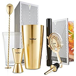 VonShef Boston Cocktailshaker-Set Gebürstetes Gold Luxus Edelstahl in Geschenkbox mit Rezepten & Zubehör Inkl. Holt-Stößel, gezwirbelten Barlöffel, Hawthorne-Sieb, Ausgießer und Zweiseitiger 25ml/50ml Messbecher
