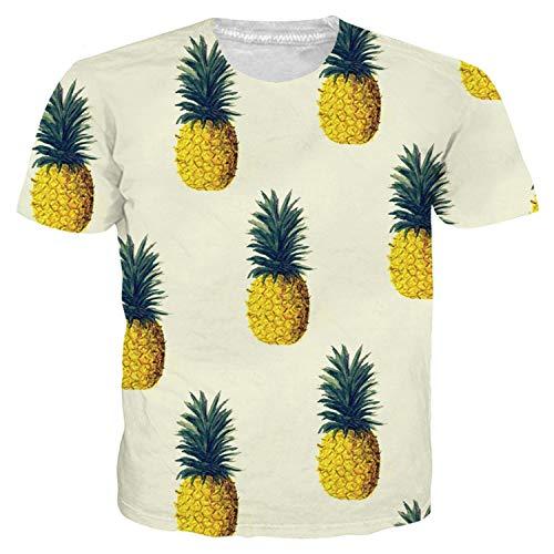 Fashion Fruit T-Shirt für Damen und Herren, mit Ananas-Print, Harajuku-Kostüm, kurzärmelig, Sommer, 3D T-Shirt Tops OneColor L