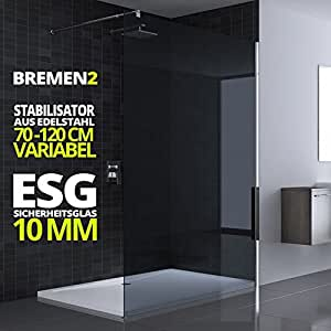 paroi de douche pare douche verre de s curit teint e gris fonc 10mm barre de stabilisation. Black Bedroom Furniture Sets. Home Design Ideas