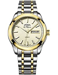 Rotary Men's Quartz Watch with Yellow Dial Analogue Display and Two Tone Stainless Steel Bracelet GB90174/03