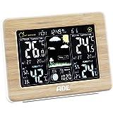 ADE Wetterstation WS 1703 mit Funk und Außensensor. Digitale Profi Funkwetterstation aus echtem Bambus. Für präzise Vorhersage, Anzeige Innen- und Außen-Temperatur, Hygrometer. Großes LED Farbdisplay