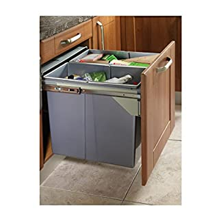 PULL OUT KITCHEN CABINET INTEGRATED RECYCLE WASTE BIN 500mm 68 LTR FRONT FIXING 2 X 34L