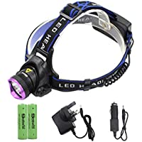 Genwiss 5000LM CREE XM-L XML T6 LED 3-Modes Design Headlamp Headlight Outdoor Sport Head Lamp Head LED Light Torch waterproof include 4200mAh 2 x 18650 Batteries Rechargeable Charger and Car Charger