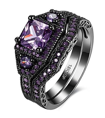 Black Brass White Diamond Prong Set Diamond Princess Cut Diamond